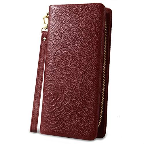 Yaluxe Portafoglio Vera Pelle in Rosa Stampa Fiore Pochette da polso per donna con cinturino Vino Rosso