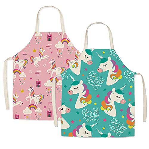 malschürze kinder Kinder Schürzen Set 2 Stück Einhorn Kinder Schürze Kinder Koch-Set Kochschürze für Basteln Malen Backen Kochen Pink und Grün (4-15 Jahre)