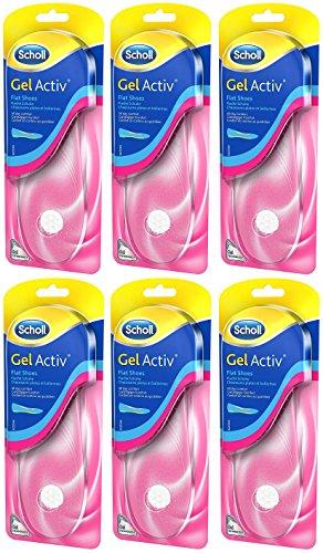 Scholl Scholl GelActiv Einlegesohlen Sparpack Flache Schuhe Einlagen Schuhsohle 6er Pack (6x 1 Paar)