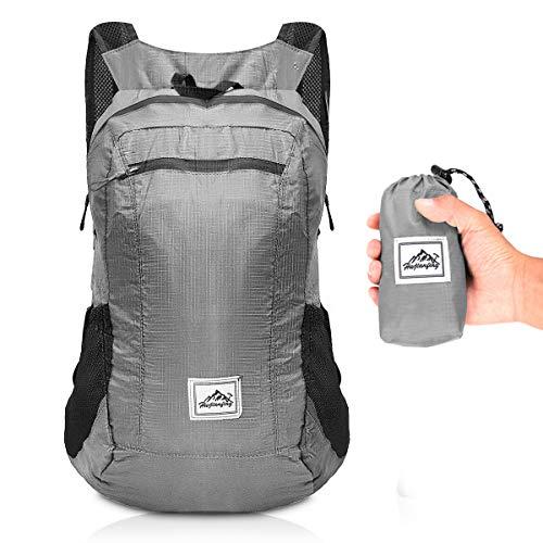 GROOFOO Faltbarer Rucksack, 20L Ultraleichter Packbarer Rucksack, Wasserfester Camping-Wandertagesrucksack für Männer, Frauen, Outdoor Grau