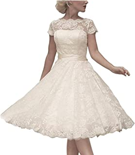 Women's Cocktail Dress Floral Lace Knee Length Short Formal Wedding Bridal Gown