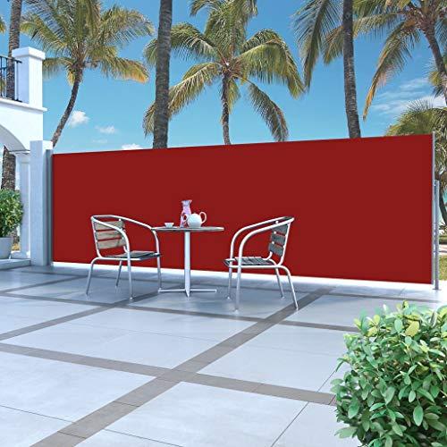 Tidyard Toldo Lateral para Proteger Lateral Separador Retráctil Biombo Separador para Jardín o Terraza con Función de Retroceso Automático,160x500cm Rojo