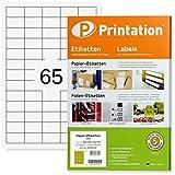 Etiquetas de calidad - 6500 unidades de 38,1 x 21,2 mm - Color blanco - Etiquetas autoadhesivas e imprimibles - 100 hojas A4 de 5 x 13 - Formato compatible con 3666 / L7651 / 4606.