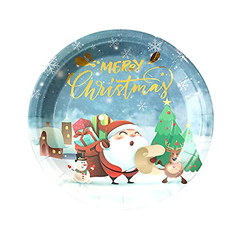DZHTWSRYGR Plato de Cena de Navidad Plato de Cena de decoración navideña...