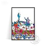 linbindeshoop Cartel de impresión de Acuarela de Ciudad Moderna Venecia Alemania Arte de Pared Las Vegas Estocolmo Budapest Cartel de impresión Sydney Londres Viajes(LT-1532) 40x60cm Sin Marco