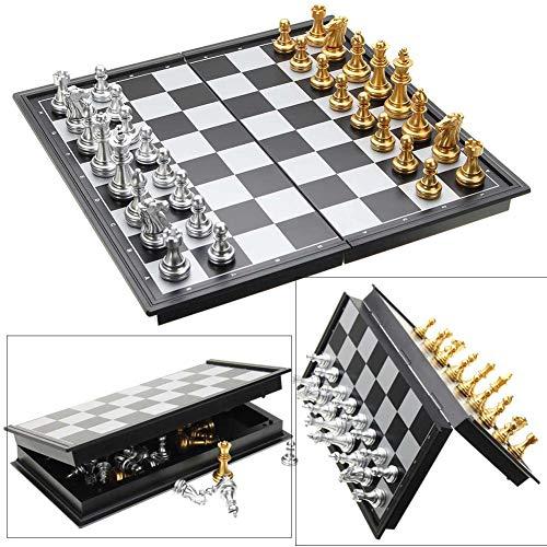 Yajun Magnetisches Reise Schachspiel für Kinder oder Erwachsene Faltbrettspiel Gold Silber Schachfiguren Professionelles Turnierset 25x25cm