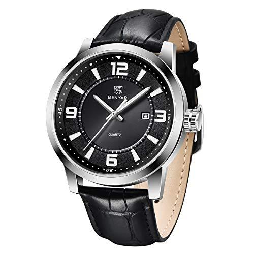 BENYAR Reloj de Hombre Movimiento de Cuarzo Esfera Minimalista Pulsera de Cuero 30M Impermeable Elegante Regalo de Los Hombres