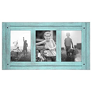 Americanflat 4x6 Turquoise Blue Collage Distressed Wood Frame - Made to Display Three 4x6 Photos - Ready To Hang or Stand With Built in Easel