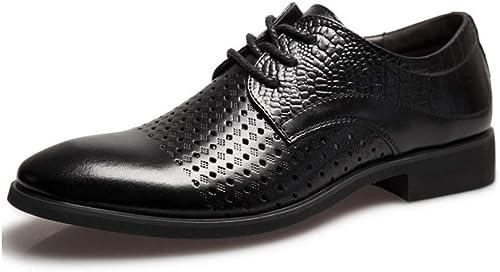 Chaussures Hommes Cuir été Chaussures Chaussures habillées Chaussures d'affaires Comfort Fashion HolFaible Noir pour Bureau de Mariage et soirée (Couleuré   Noir, Taille   EU 40)  bénéfice nul