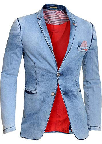 Men's Slim Fit Suits Casual One Button Flap Pockets Solid Color Blazer Business Coat Jacket Tops (2XL, Blue)