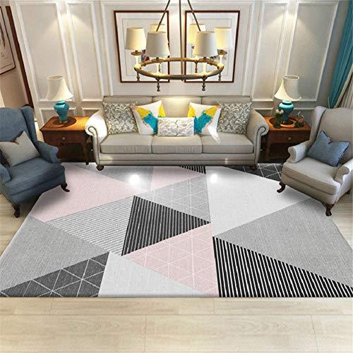 Kunsen Cuadros Decoracion Salon Grandes Alfombra Dormitorio Juvenil Alfombra Rosa Gris Sala de Estar Decoración geométrica Estilo Moderno alfombras para Salon 200x280cm 6ft 6.7' X9ft 2.2'