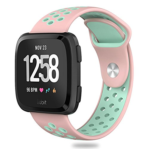 Hagibis Compatible Fitbit Versa Bands Sport Silicone Replacement Breathable Strap Bands New Fitbit Versa Smart Fitness Watch (1.Pink&Teal)