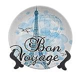 Placa decorativa de cerámica de 8 pulgadas, con globo de aire de la torre Eiffel, acuarela Bon Voyage Bird Journey decorativo de cerámica para pasta, ensalada, fiesta, cocina decoración del hogar