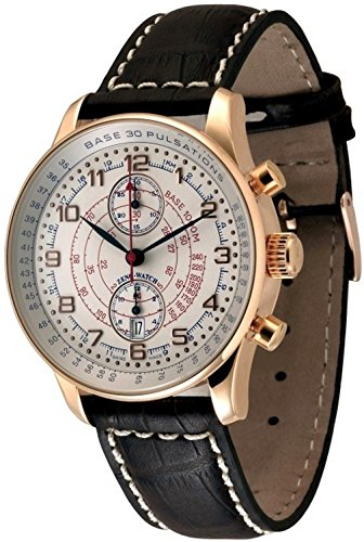 Zeno-Watch Herrenuhr - X-Large Retro Chrono Pulsometer Gold Plated - P557BVD-Pgr-f2-Puls