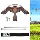Lamonty Bird Scarer Flying Kite Crops Farm Protector Bird Hawk Flying Kite with 4m Telescopic Pole