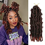YEBO 7 Packs Butterfly Locs Hair Pre Looped Hair for Distressed Locs Crochet Hair 12 inch Ombre Color Synthetic Hair Extensions (12 Inch-7 Packs, T350)
