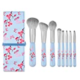 RANCAI Flawless Makeup Brush Set with Pouch, Synthetic Bristles for Liquid Foundation, Blending Brushes Set with Pouch for Traveling, Set of 8 (Vintage Blue)