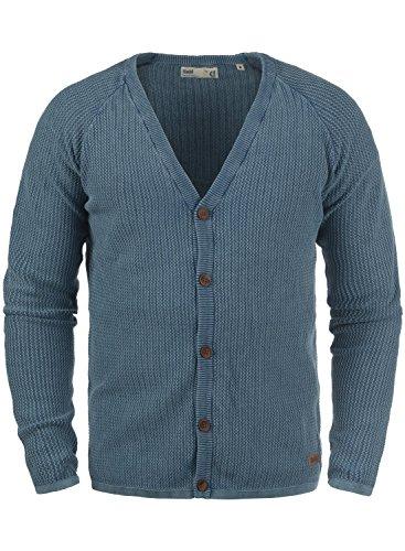 !Solid Tebi Herren Strickjacke Cardigan Grobstrick Winter Pullover mit V-Ausschnitt, Größe:L, Farbe:Dark Denim (1350)