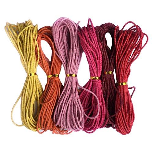 MagiDeal 6 Piezas Hilo de Algodón Encerado Elegante de Multicolores para Fabricación de Joyas - # 3