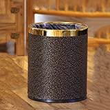 1yess La Basura doméstica Puede Creative Europa Cocina Dormitorio Sala de Estar Doble Capa Buck Bucket Buck Buck Poder (Color: Gold) (Color : Black)