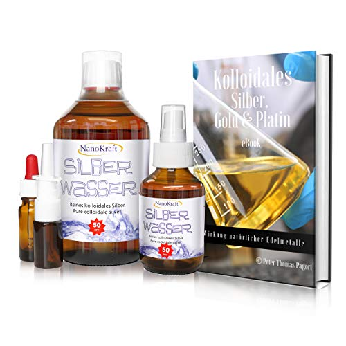 Kolloidales Silber 500ml / 50ppm, Silberwasser mit Sprühflasche 100ml, Nasensprayflasche, Pipettenflasche, Messbecher, E-Book in 5 Sprachen zum Download, Laborgeprüft, Hohe Konzentration