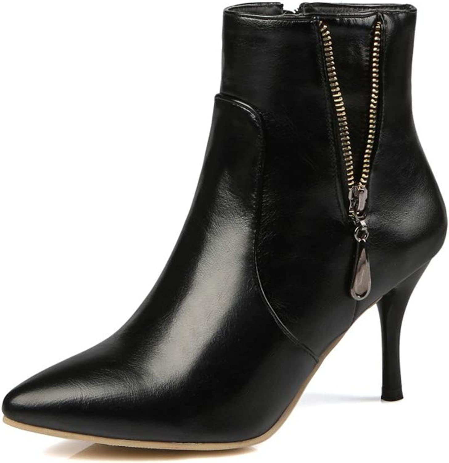 Super color Women's Pointy Toe Ankle Knight Boots with Zipper - Stretchy Inside Zip up - Stiletto Kitten Heels