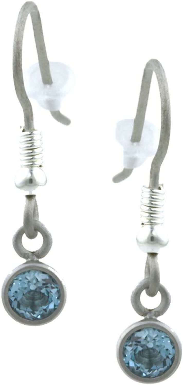Ti2 Titanium Womens Small Gem Stone Drop Earrings  Silver bluee