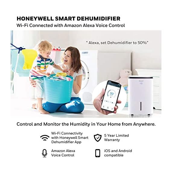 Honeywell Basement & Small Room Up to 1000 Sq. Ft, TP30AWKN Smart Wi-Fi Energy Star Dehumidifier, 30 Pint, White 4 POWERFUL DEHUMIDIFIER FOR ROOMS UP TO 4000 SQUARE FEET: This powerful beast effectively removes up to 70 pints of moisture from the air (50-Pint 2019 DOE Standard) to protect walls, curtains, furniture and appliances from excess household moisture. Ideal for large basements, living rooms, cellars, and storage rooms. PEACE OF MIND WITH A BRAND YOU TRUST: Honeywell Dehumidifiers are top rated by an independent, US-based product safety-testing agency since 2016 and all Honeywell Dehumidifiers are backed by an outstanding warranty. Plus, if you ever need help, the Honeywell Home Comfort customer service hotline connects you directly to an in-house customer support team who are ready to help (during office hours). SMART & VERSATILE: Wi-Fi-Enabled and compatible with Amazon Alexa voice commands, the Honeywell Smart Dehumidifier can be controlled from almost anywhere. Change humidity and fan-speed settings without moving away from your busy routine.