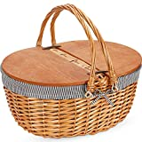 G GOOD GAIN Wicker Picnic Basket with Liner, Classic, Vintage-Style Picnic Basket, Wicker Picnic Hamper for...