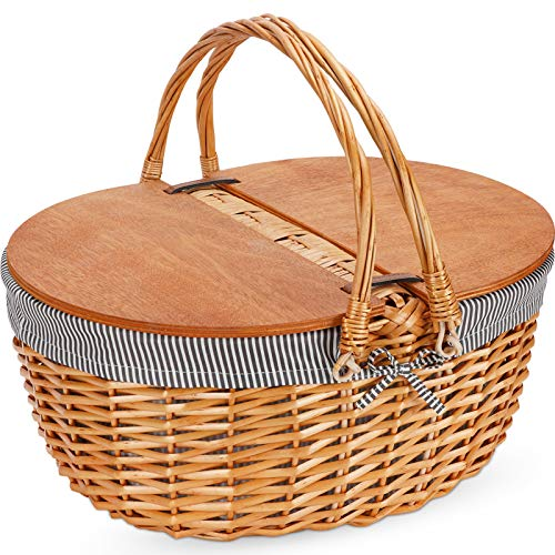 G GOOD GAIN Wicker Picnic Basket with Liner, Classic, Vintage-Style Picnic Basket, Wicker Picnic Hamper for Camping,Outdoor,Valentine Day,Thanks Giving,Birthday Grey Stripe