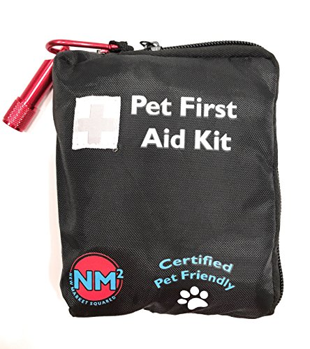 New Market Squared Pet First Aid Kit for Dogs and Cats, 25 Piece Kit For Your Pets, Travel, Camping, and Hiking, Comprehensive Emergency Care Handbook, Certified Pet Friendly