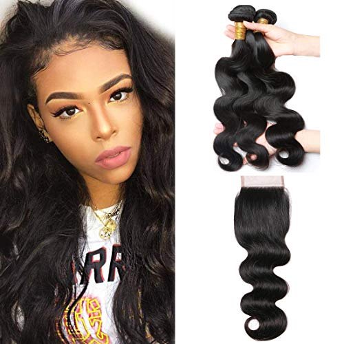 A ALIMICE Brazilian Body Wave Bundles With 4x4 Lace Closure with Body Wave 3 bundles Virgin Human Hair Bundles Natural Color (18 20 22 + 16 closure)
