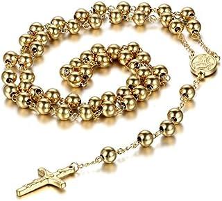 JewelryWe Gioielli Acciaio Inossidabile Collana Collegamento Perline Catena Catenina Oro Rosario Jesus Gesu Cristo Crocifi...