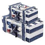 Cabilock 2 Piezas Caja de Joyería de Madera Caja de Almacenamiento de Playa Náutica Vintage Caja de Contenedor de Maquillaje Cofre Caja de Baratija Decoraciones de Escritorio Náuticas para