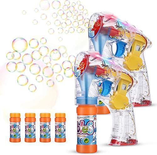 EPCHOO Seifenblasenpistole, 2PCS LED Seifenblasen Pistole Bubble Maschine Pistole mit 4x50ml Seifenblasenlösung, Seifenblasenmaschine Seifenblasen Spielzeug Pistole Bubble Gun für Kinder & Erwachsene