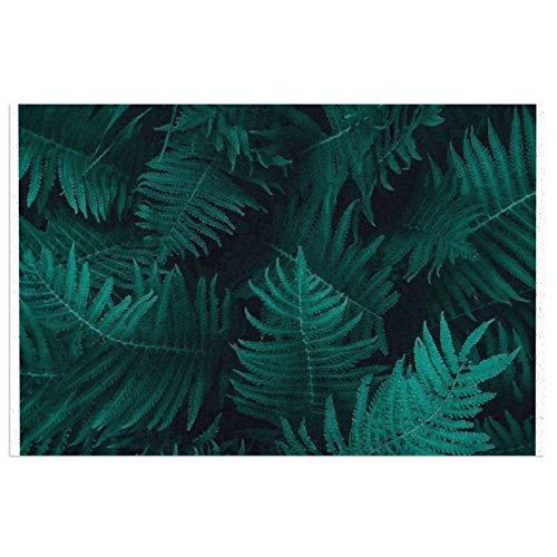 Elegante tapete de bienvenida con hojas de helecho, para puerta delantera, interior y exterior, de goma, antideslizante, resistente al agua, duradera, 39,7 x 59,9 cm