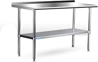 Commercial Stainless Steel Work & Prep Table 24 x 48 Inches, Kitchen Adjustable Heavy Duty Table with Backsplash and Undershelf for Home and Restaurant