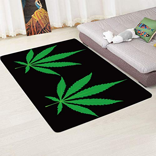 zpbzambm Modern Rugs,Area Rug,Soft Touch Short Pile Carpet For Living Room And Bedroom, 3D Printing Green Leaf,Easy To Clean Without Falling Off,Size :60X100Cm