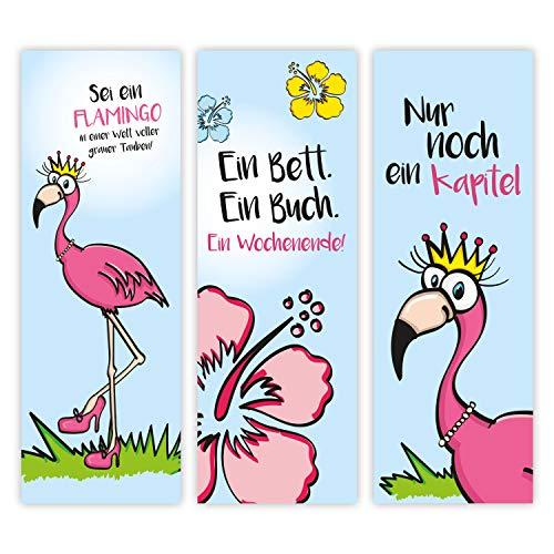 12er Set Flamingo-Lesezeichen mit schönen Sprüchen I 3 tropcial Motive I für Mädchen Teenager Frauen I Einschulung Schulanfang Schultüte I dv_253