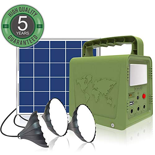WAWUI Portable Power Station 42Wh, Solar Generator with Solar Panel & Flashlights for Home Emergency...
