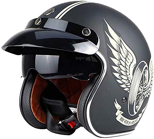 Casco Jet para Motocicleta Harley Medio Casco Motocicleta Gafas Integradas 3/4 Casco Certificado ECE Cruiser Chopper Scooter Piloto Conducción Segura Equipo Protección Gorra,L=(59~60cm)