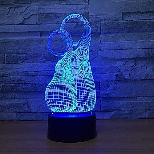 3D Symphony Light LED Luz de noche Modelo de botella Control remoto Interruptor USB 7 Cambio de color Luz Mood Decoración Regalo ambiental