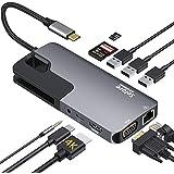 USB C ハブ ドッキングステーション 10-in1 多機能 HDMI 4K出力 二つ画面拡張可能/3*USB3.0ポート/87W PD充電/LANポート(1000Mbps)/VGAポート/3.5mmオーディオ/TF/SDカードリーダー usb-cハブ/MacBook Pro/ MacBook Air/ iPad Pro 2018 2020/ Dell XPS 15 13 / Surface Go / Huawei Matebook およびその他のType Cデバイス対応可能なタイプ C ハブ