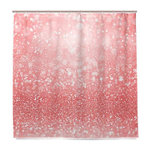BALII Glitzer-Duschvorhang, 182,9 x 182,9 cm, Polyester, wasserdicht, mit 12 Haken für Badezimmer
