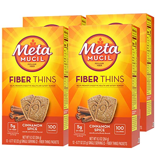 Metamucil Fiber Thins, Psyllium Husk Fiber Supplement, Digestive Health Support and Satisfy Hunger, Cinnamon Spice Flavored, 12 Servings (Pack of 4)