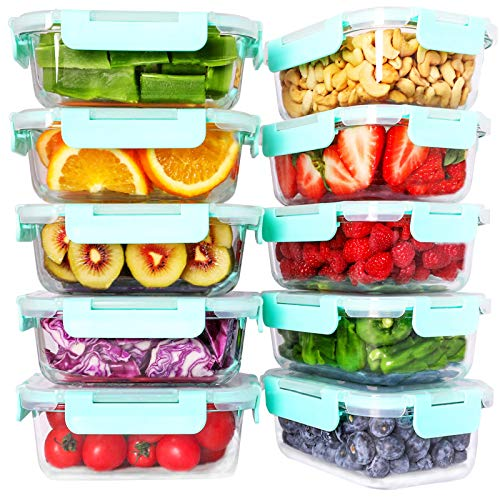 Bayco 10 Pack Glass Meal Prep Containers, Glass Food Storage Containers with Lids, Airtight Glass Lunch Bento Boxes, BPA-Free & Leak Proof (10 lids & 10 Containers)