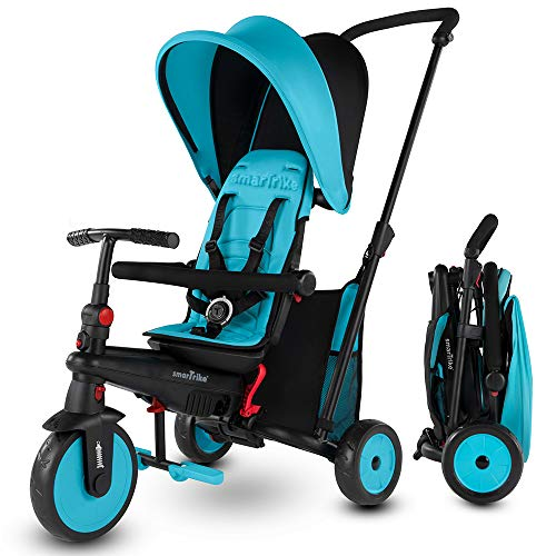 smarTrike STR3 Folding Toddler Tricycle with Stroller Certification for 1,2,3 Year Old - 6 in 1 Multi-Stage Trike (Blue)