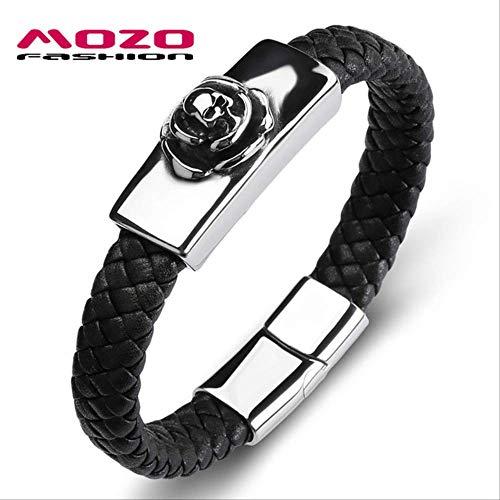 NJSDDB Armband voor heren, leer, skelet, roestvrij staal, eenvoudige armband, punk, doodskop, sieraden, binnenomtrek 185 mm, zwart