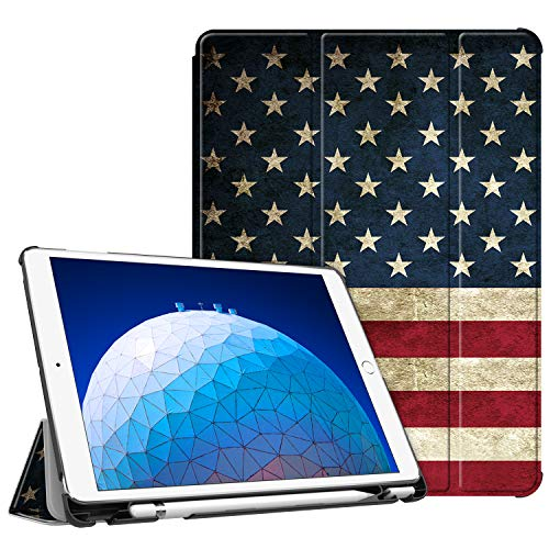 Fintie Case for iPad Air (3rd Gen) 10.5' 2019 / iPad Pro 10.5' 2017 - [SlimShell] Ultra Lightweight Standing Protective Cover with Built-in Pencil Holder, Auto Wake/Sleep (US Flag)