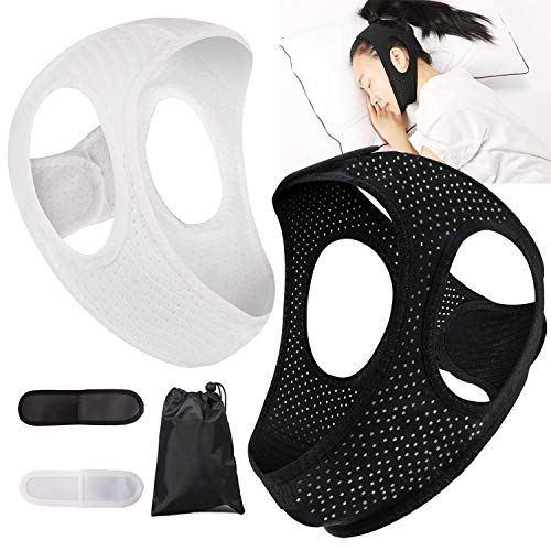 Chin Strap for Cpap Users Anti Snoring Devices 2 Pack - Forzacx Breathable Cpap Chin Strap Snoring Solution, Effectively Reduce Snoring, Non-Stick Hair, Don't Fade - Black&White